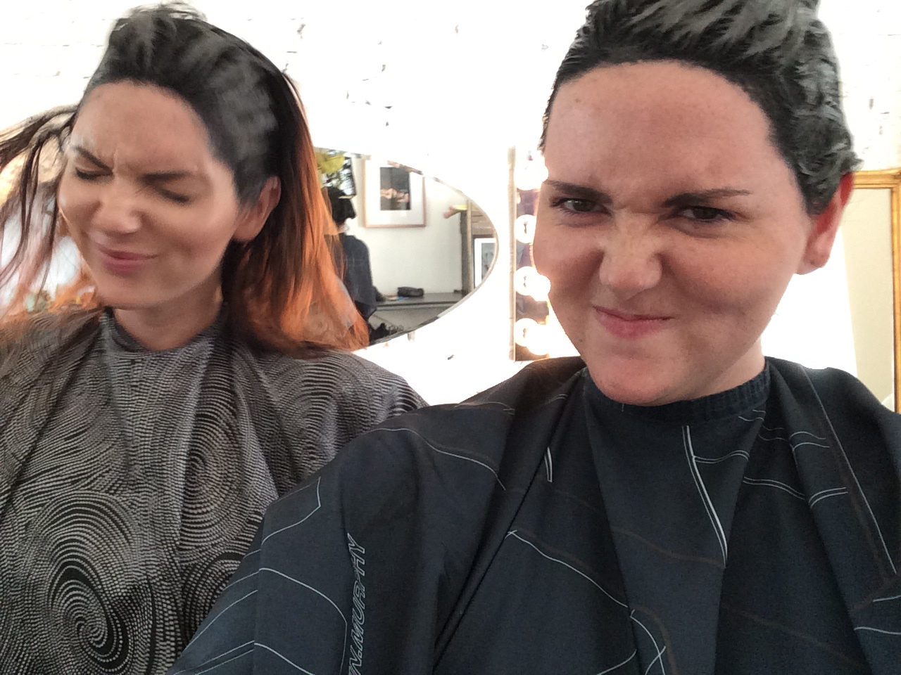 Sisters who do hair together….look great. August 29, 2015579